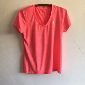Under Armour Semi Fitted Short Sleeve Top Pink/Coral Color See Photos for Size