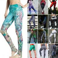 Women Yoga Gym Pants High Waist 3D Print Leggings Training Workout Sport Fitness