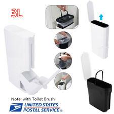 Bathroom Trash Can 3L Kitchen Waste Basket Garbage Bin W/ Toilet Brush Clean Set