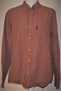Men's Button Up Shirt Columbia Red Tan Plaid Medium LS Button Up NICE Cotton