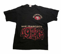 Vintage Black San Francisco 49ers T Shirt Spiral 90s 1996 XL