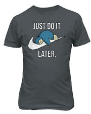 """Snorlax """"Just Do It Later"""" Pokemon Mens & Youth T-Shirt"""