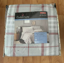 Cuddl Duds Heavyweight Flannel 100% Brushed Cotton Queen Sheets Gray Red Plaid