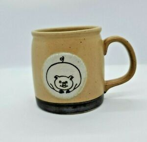 Stoneware Medallion Pig Mug Coffee Cup Speckled Pottery