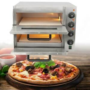 3KW Pizzaofen 2 Kammern Gastro Edelstahl Pizza Backofen Brotofen Schamottstein