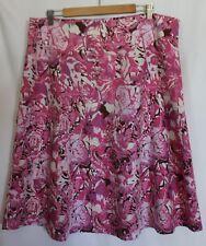 TRENT RESORT ~ Spring White Pink Mauve Roses Print Linen Full Skirt 18