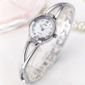 Fashion Women's Bracelet Watch Quartz Crystal Wristwatch Steel Round Case Gift