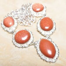 "Handmade Sun Sitara Sparkling Jasper 925 Sterling Silver Necklace 19.5"" #N00893"