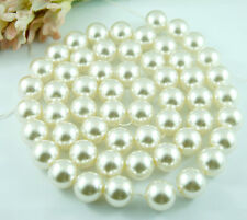 *55 Pcs/per Strand 16mm Cream White Faux Imitation Plastic Round Pearl Beads*