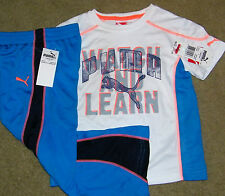 New! Boys PUMA Outfit (Shirt, Athletic Pants; White/Blue) - Size 12 mo
