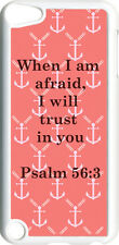 Salmon Pink Small Anchor with Psalm 56:3 on iPod Touch 5th Gen 5G White TPU Case