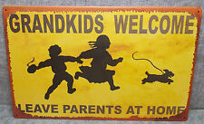 """Vintage Look Tin Metal """"Grandkids Welcome Leave Parents"""" 10""""X16"""" Old Style Sign"""