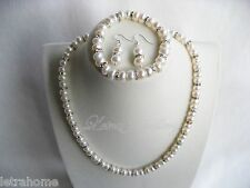8mm Real White Freshwater Pearl Clear Crystals Necklace & Bracelet Earrings Sets