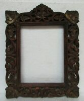 Vintage Old Hand Carved Painted Wooden Picture Photo Frame, Collectible