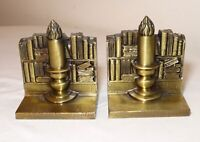 vintage pair of 2 figural candle book shelf brass plated bookends set