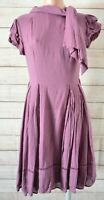 Aurelio Costarella  Fit Flare Dress Size 2 Small Purple Short Sleeve Silk Wool