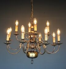 Impressive 12 arm chandelier polished brass Dutch baroque long French provincial