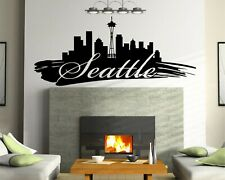 Huge Seattle Skyline Vinyl Wall Decal Wall Sticker Man cave Bedroom Removable