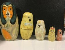 5pc Vintage Nesting Doll Dogs- Wooden Dogs Hand Painted Nesting Dolls - Set of 5