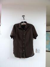 ESPRIT  linen/cotton dark brown short sleeve mans shirt M chest 46 inches