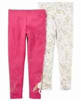 New Carter's Girls 2 Pack Leggings Pants Unicorn Gold Glitter Stars NWT 2T Girl