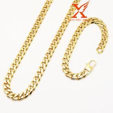 "24""Men Stainless Steel 10mm Gold Miami Cuban Curb Chain Necklace Bracelet Set"