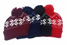 ADULTS/KIDS Festive Bobble Beanie Hat Boys Girls Snowflake Mens Ladies Christmas