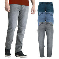 Mens Ex-Store Slim Fit Jeans Stretch Denim Pant Casual Washed Zip Fly Trousers