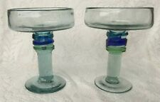 Hand-Made Art Glass Margarita Glasses Set of 2