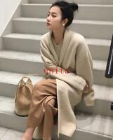 Womens Cashmere Wool Blend Knitted Sweater Cardigan Outwear Warm Long Coat enitc