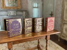 Vintage Miniature Dollhouse Set 4 Gold Foil Classic Books for Library, Pages