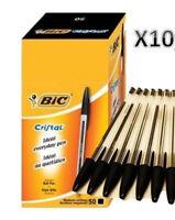 10 X BIC Cristal Cristallo Nera Media a Sfera Penne