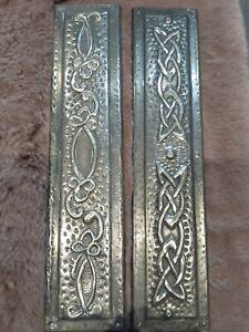 Two Metal  Vintage Art Nouveau Finger Push Door Plate Art Nouveau