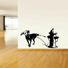 Wall Vinyl Sticker Decals Mural Design Funny Dog Peeing On Fire Hydrant #768