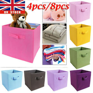 4pcs/8pcs Foldable Canvas Storage Collapsible Box Fabric Cube Cloth Basket Bags