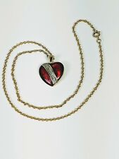 """Royal Red Enameled Heart Necklace 18"""" Gold Tone Chain"""