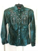 ROAR Womens Western Shirt Cowgirl Rodeo Embellished Snaps & Top sz M Small