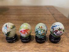 4 Miniature Jade Stone Handpainted Eggs on Stands