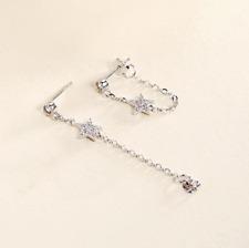 925 Sterling Silver Star CZ Dangle Drop Stud Earrings Hanging Tassel Chain D26