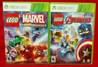 LEGO Marvel Super Heroes + Avengers Microsoft Xbox 360 Game Lot Complete Works