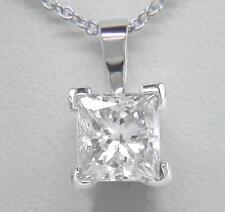 0.70ct Diamond Solitaire Platinum Pendant Certified D IF VG Princess Cut & Chain
