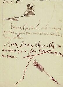 Jules BARBEY D'AUREVILLY - Lettre autographe signée avec dessins originaux.