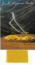 Christo AK Umbrellas USA original hand signed + stoff ca 6,5 X 4 cm