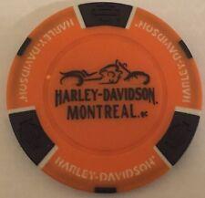 MONTREAL, QUEBEC, CANADA HARLEY DAVIDSON POKER CHIP (ORANGE & BLACK)