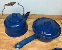 Vintage Blue Speckled Graniteware Enamelware Coffee Tea Kettle & Cooking Pot
