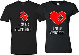 His Her Missing Piece puzzle Heart Valentine couple matching funny cute T-Shirt