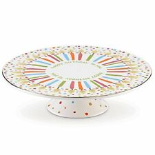"""Lenox Candles and Confetti Musical Birthday 11"""" Cake Plate New/ Gift Box"""