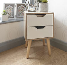 Bedside Cabinet 2 Drawer Oak Veneer Bedroom Furniture Solid Wood Legs SECONDS