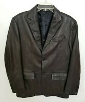Banana Republic Mens Black Leather Blazer Jacket Button Pockets Lined Size 36R