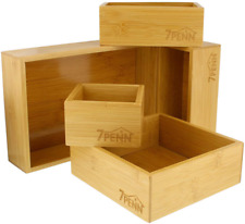 Bamboo Drawer Organizer Boxes Junk Office School Supplies Accessory 5 Pieces Set